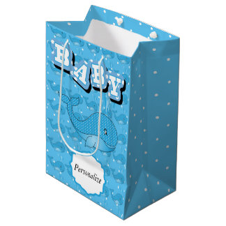 Blue Baby Polka Dotted Whale Medium Gift Bag