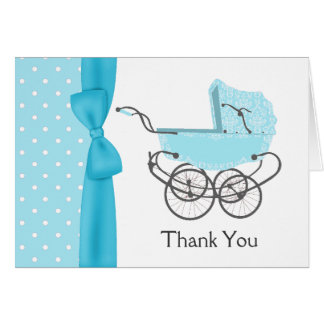 Blue Baby Pram Thank You Note Card