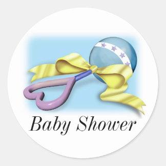 Blue Baby Rattle It s A Boy Round Sticker