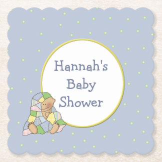 Blue Baby Shower Custom Paper Coasters