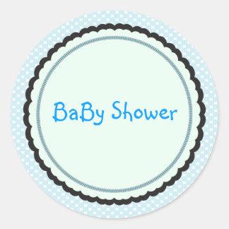 blue baby shower envelope seal round sticker