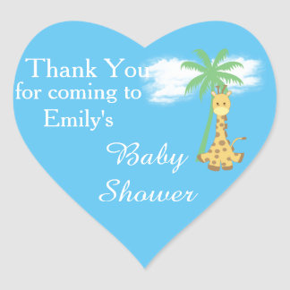 Blue baby shower giraffe thank you stickers
