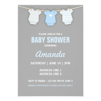 Blue Baby Shower Invitation, Clothesline Theme Card