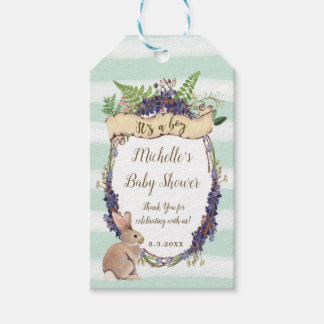 blue baby shower tags bunny it's a boy