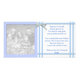 Blue Baby Shower Thank You Card from baby boy Photo Cards