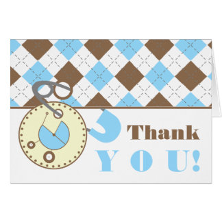 Blue Baby Shower Thank You -Diaper Pin & Argyle Card