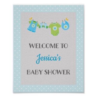 Blue Baby Shower Welcome Poster Print