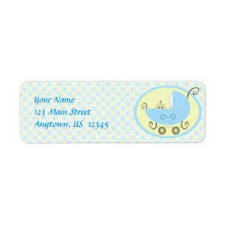 Blue Baby Stroller Label Return Address Label