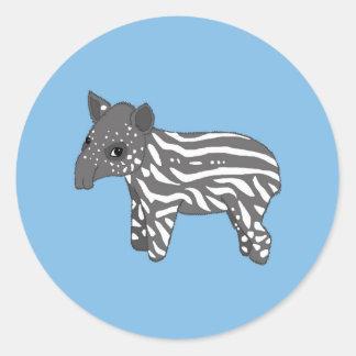 blue baby tapir classic round sticker