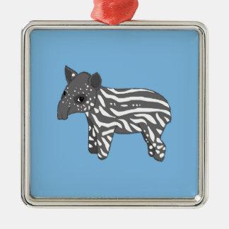 blue baby tapir metal ornament