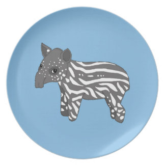 blue baby tapir party plate