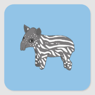 blue baby tapir square sticker