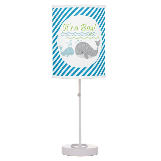 Blue Baby Whale Blue Striped Lamp