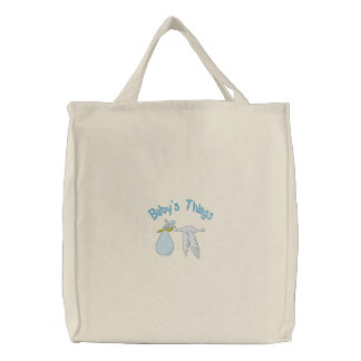 Blue Baby's Things Embroidered Bag