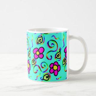 blue background flowers mug