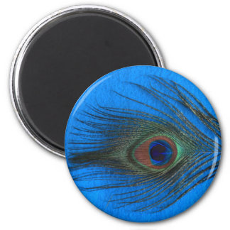Blue Background Peacock Feather 2 Inch Round Magnet