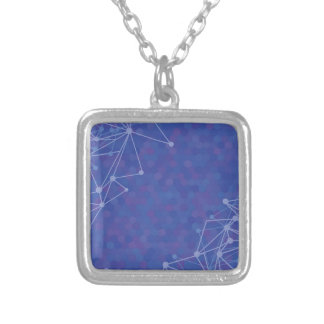 blue  background silver plated necklace