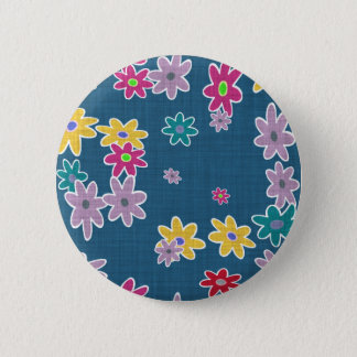 Blue Background with Colorful Flowers Pattern 2 Inch Round Button