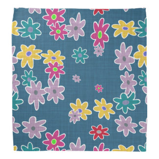 Blue Background with Colorful Flowers Pattern Bandana