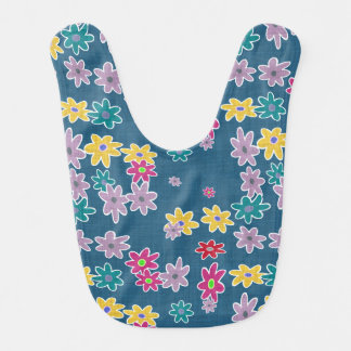 Blue Background with Colorful Flowers Pattern Bib
