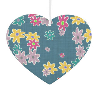 Blue Background with Colorful Flowers Pattern Car Air Freshener