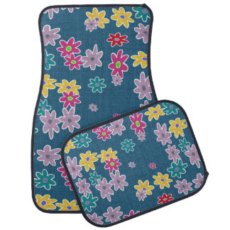 Blue Background with Colorful Flowers Pattern Car Mat