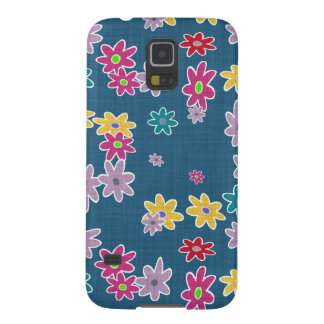 Blue Background with Colorful Flowers Pattern Case For Galaxy S5