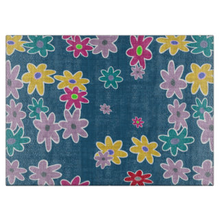Blue Background with Colorful Flowers Pattern Cutting Board