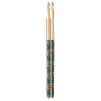 Blue Background with Colorful Flowers Pattern Drumsticks