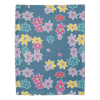Blue Background with Colorful Flowers Pattern Duvet Cover