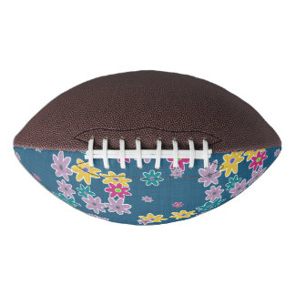 Blue Background with Colorful Flowers Pattern Football