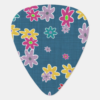 Blue Background with Colorful Flowers Pattern Guitar Pick