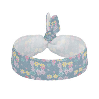 Blue Background with Colorful Flowers Pattern Hair Tie