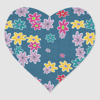 Blue Background with Colorful Flowers Pattern Heart Sticker