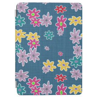 Blue Background with Colorful Flowers Pattern iPad Air Cover