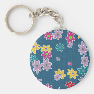 Blue Background with Colorful Flowers Pattern Keychain