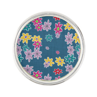 Blue Background with Colorful Flowers Pattern Lapel Pin