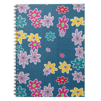 Blue Background with Colorful Flowers Pattern Notebooks
