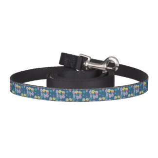 Blue Background with Colorful Flowers Pattern Pet Lead