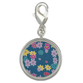 Blue Background with Colorful Flowers Pattern Photo Charms