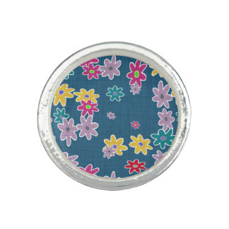 Blue Background with Colorful Flowers Pattern Photo Ring
