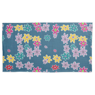 Blue Background with Colorful Flowers Pattern Pillowcase