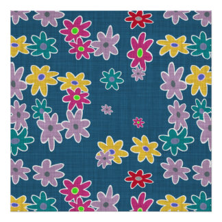 Blue Background with Colorful Flowers Pattern Poster