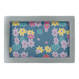 Blue Background with Colorful Flowers Pattern Rectangular Belt Buckle