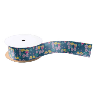 Blue Background with Colorful Flowers Pattern Satin Ribbon