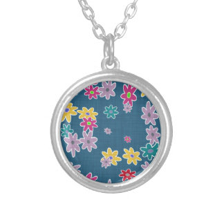 Blue Background with Colorful Flowers Pattern Silver Plated Necklace