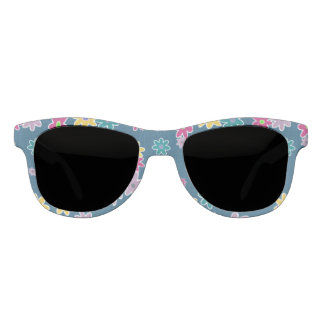 Blue Background with Colorful Flowers Pattern Sunglasses