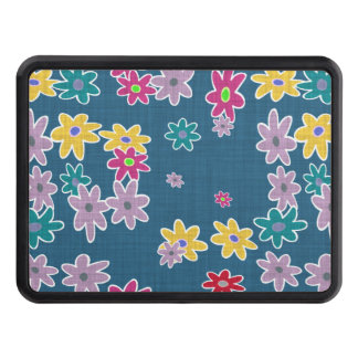 Blue Background with Colorful Flowers Pattern Trailer Hitch Cover
