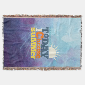 Blue Background With Summer Quote Throw Blanket