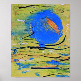 Blue Ball Abstract Print